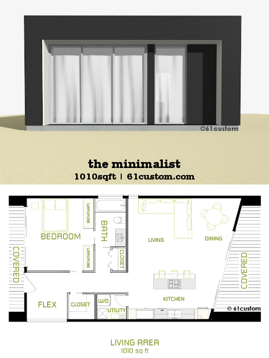 The minimalist small modern house plan 61custom for Small modern house floor plans
