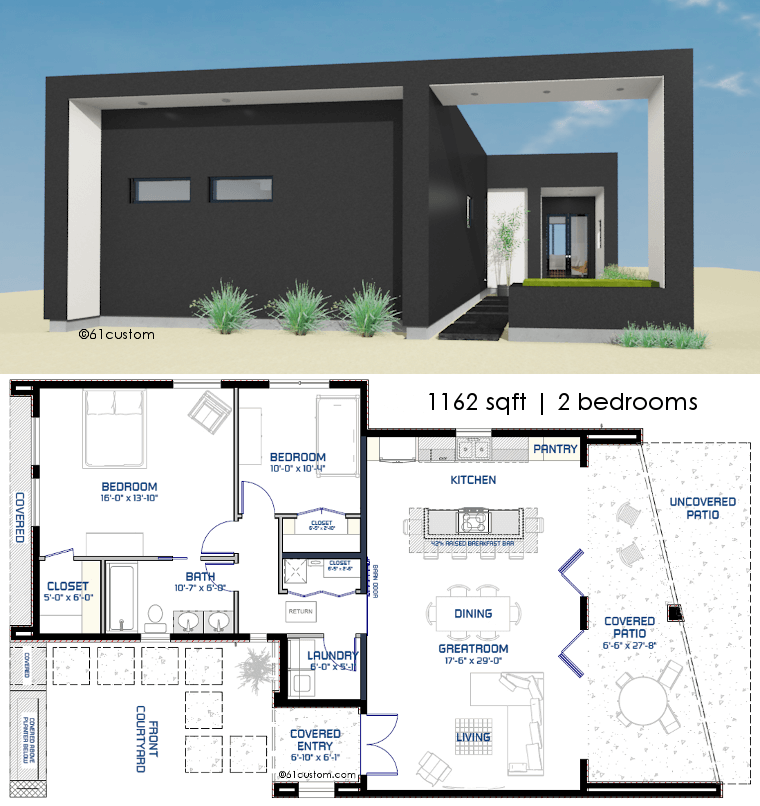 Small front courtyard house plan 61custom modern house Wide frontage house designs