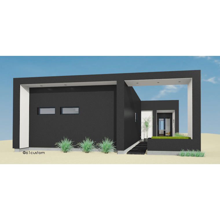 Small front courtyard house plan 61custom modern house for Modern 2 bedroom home designs
