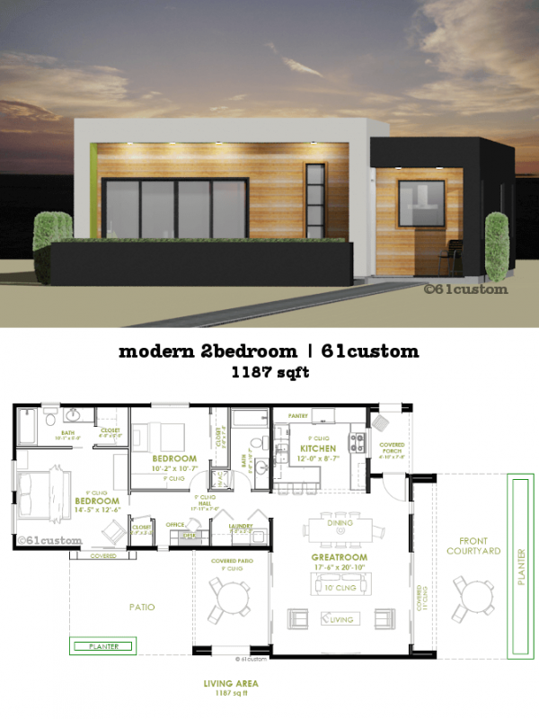 Modern 2 bedroom house plan 61custom contemporary for Two bedroom home plans