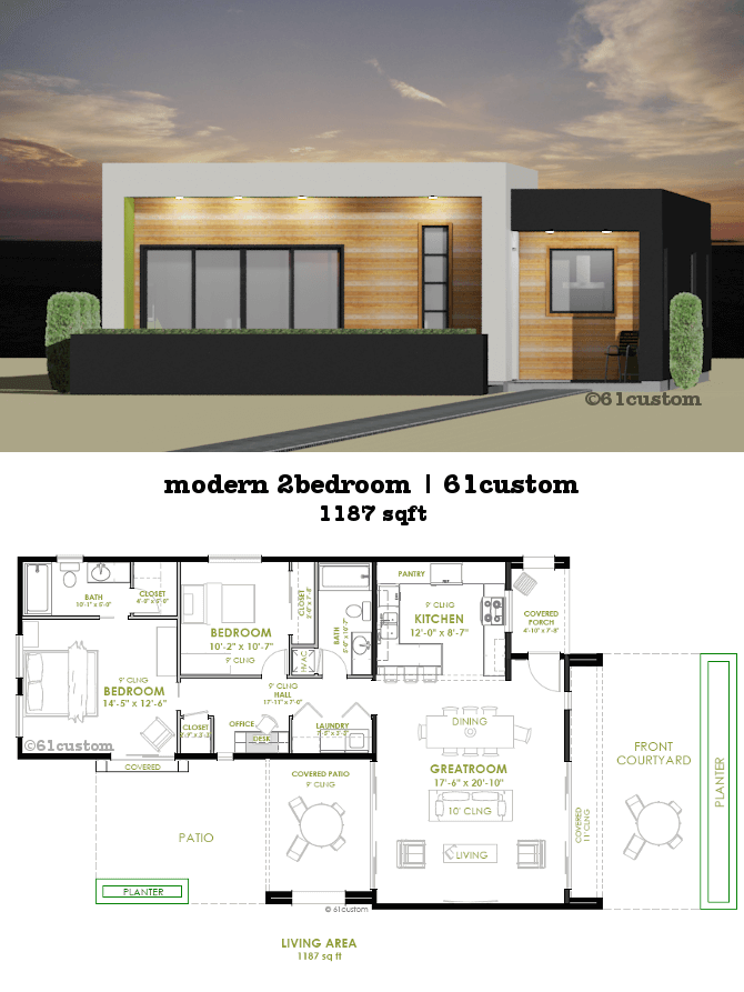Modern 2 bedroom house plan 61custom contemporary for Modern three bedroom house plans