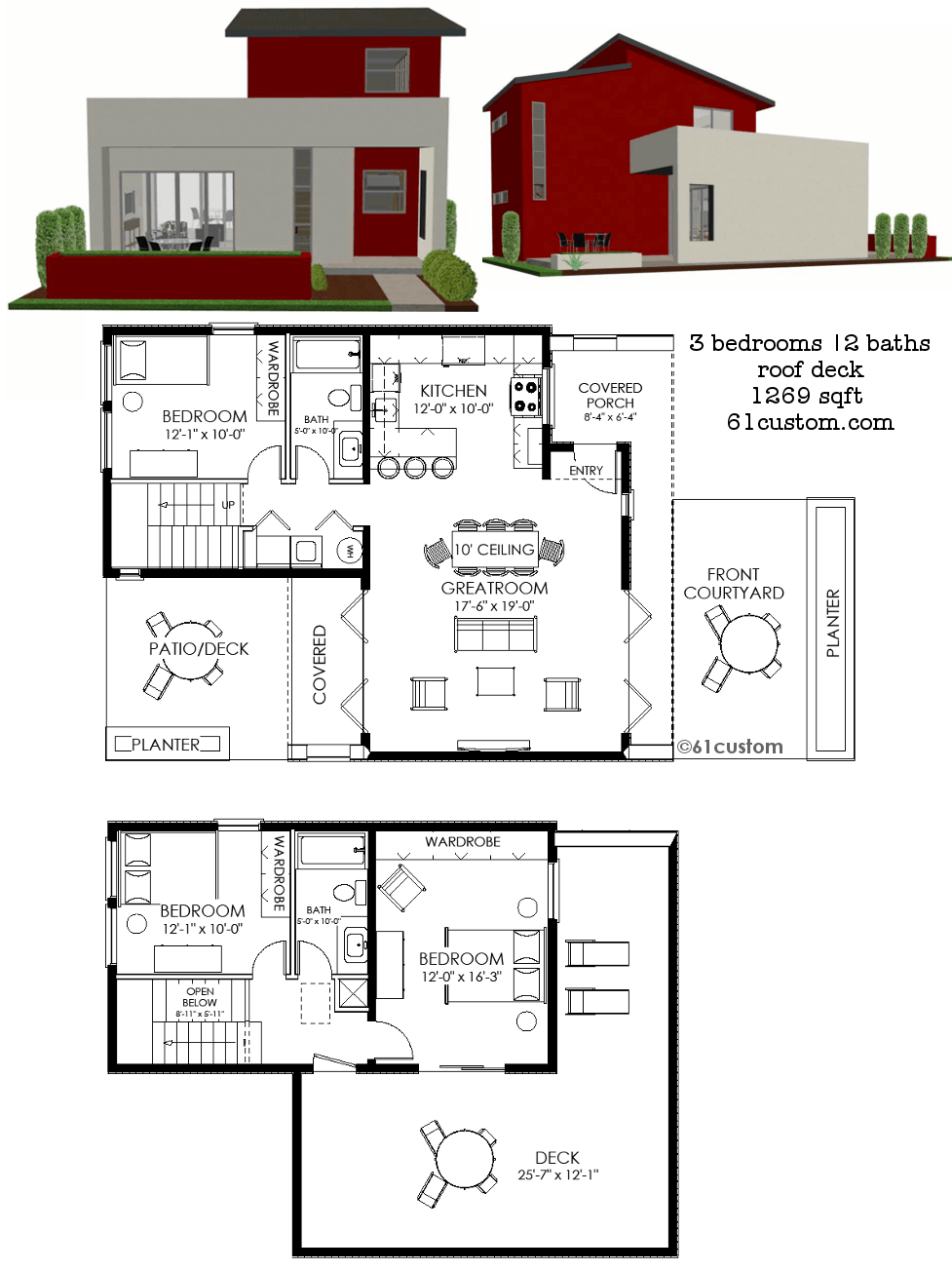 Contemporary small house plan 61custom contemporary modern small modern house plan 1269 61custom ccuart