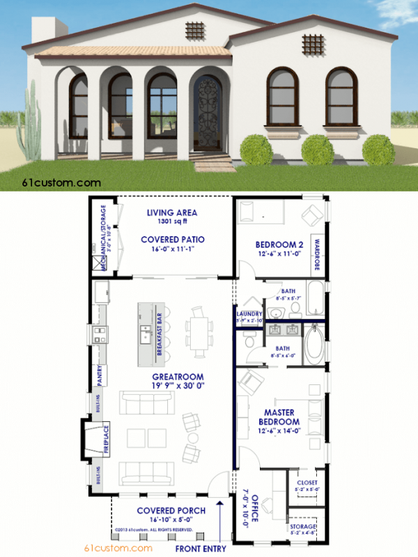 small spanish contemporary house plan | 61custom