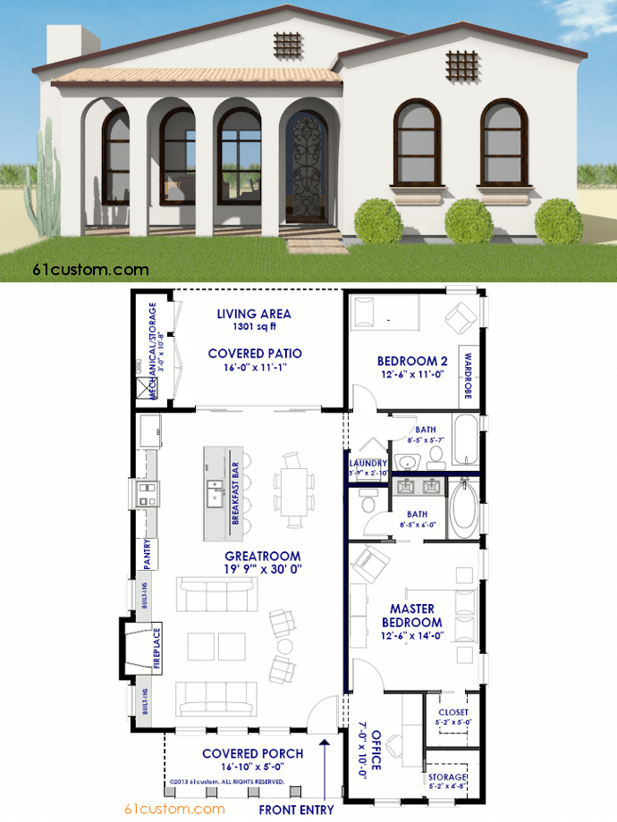 Small spanish contemporary house plan 61custom modern for Contemporary home blueprints