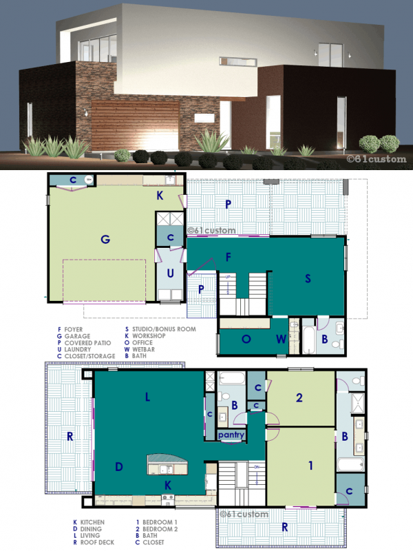 Ultra modern live work house plan 61custom for Modern 2 bedroom home designs