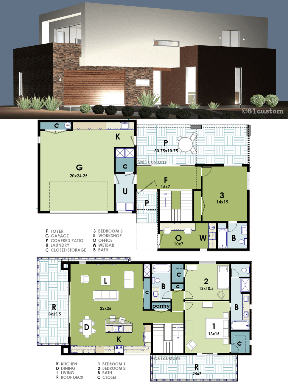 Marvelous Modern Live Work House Plan | 61custom