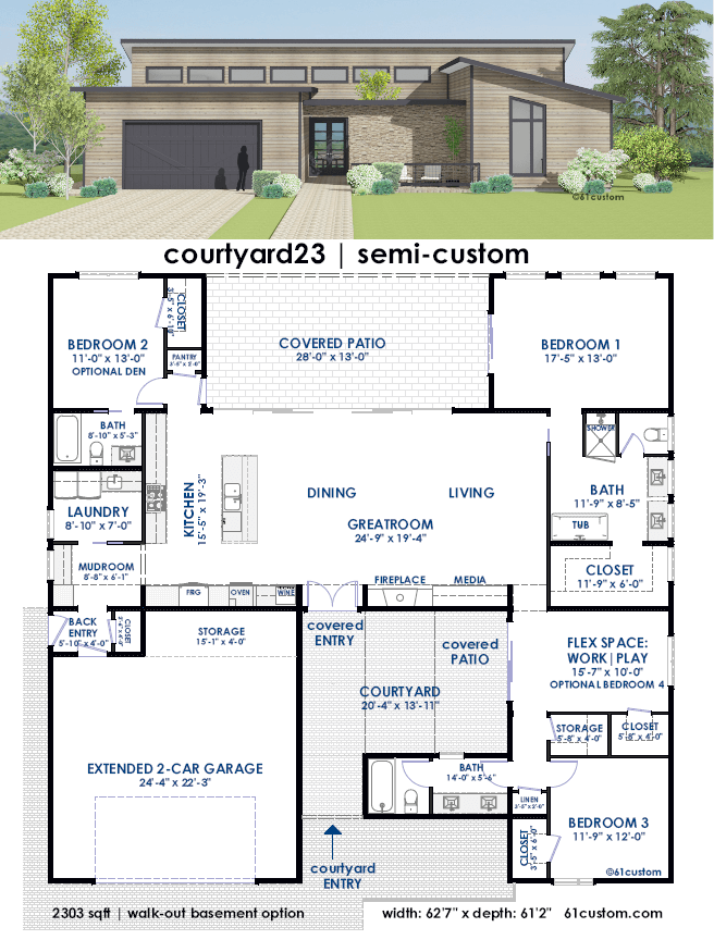 Courtyard23 semi custom home plan 61custom for Small modern house plans two floors