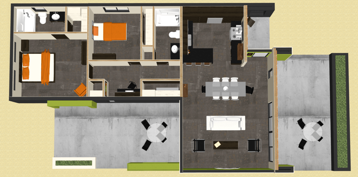 Modern 2 bedroom house plan 61custom contemporary for Design of 2bhk house