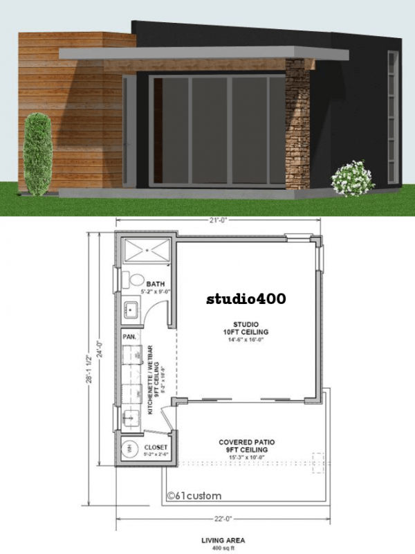 Studio400 tiny guest house plan 61custom contemporary modern house plans for Small modern house designs and floor plans