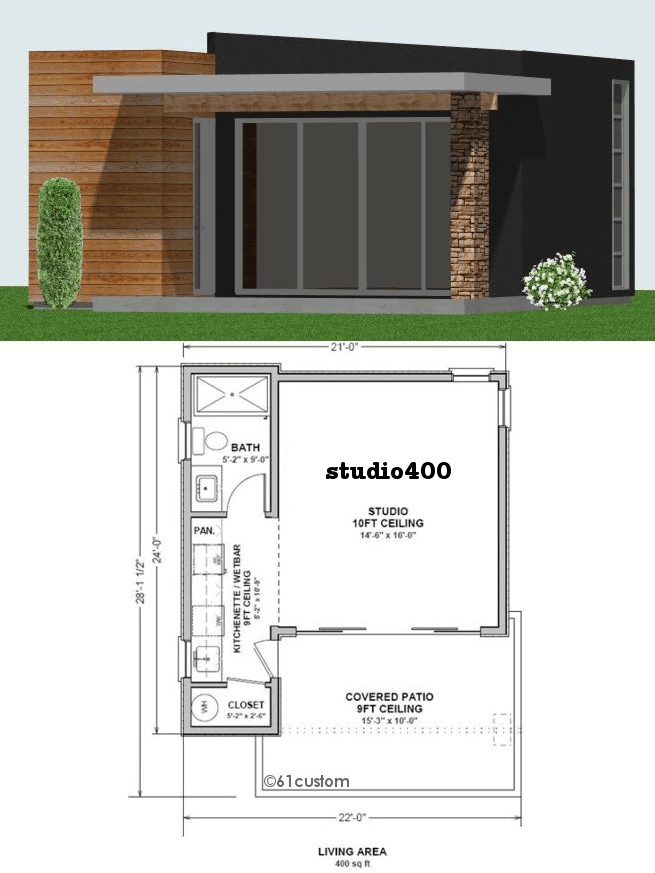 Studio400 tiny guest house plan 61custom contemporary for Studio house designs