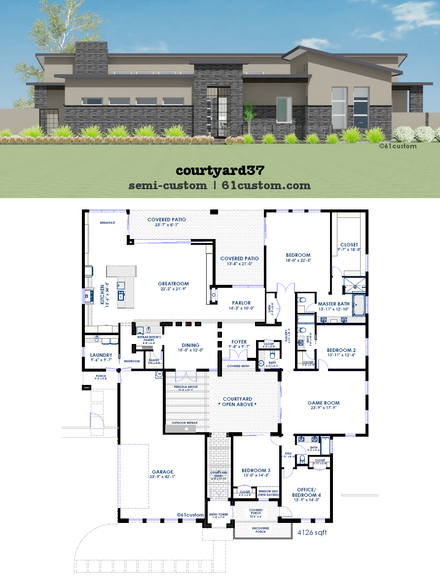 Modern courtyard house plan 61custom contemporary for Custom home blueprints