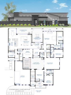contemporary courtyard house plan | 61custom