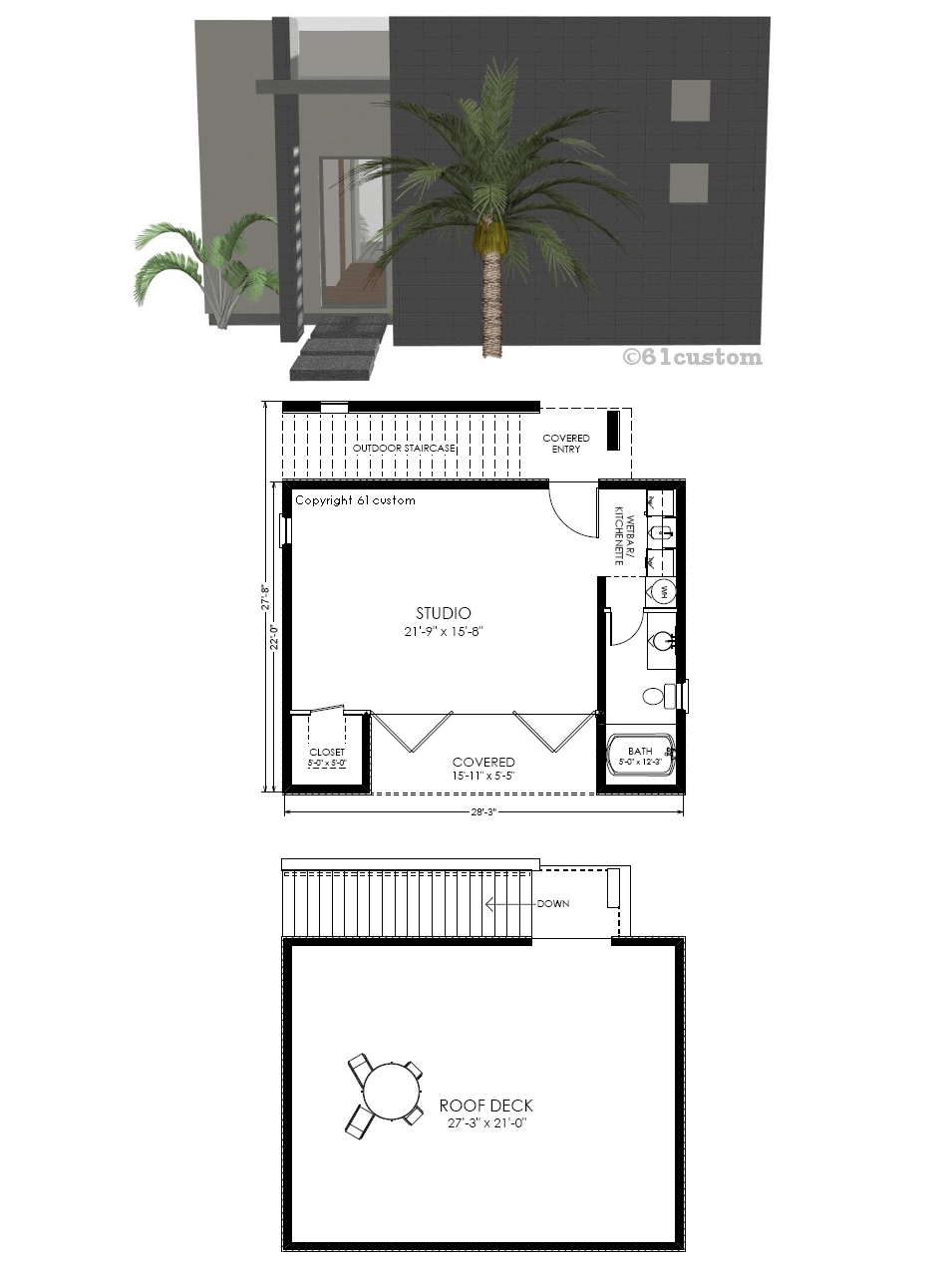 Guest house plan modern studio 61custom contemporary for Houde plans