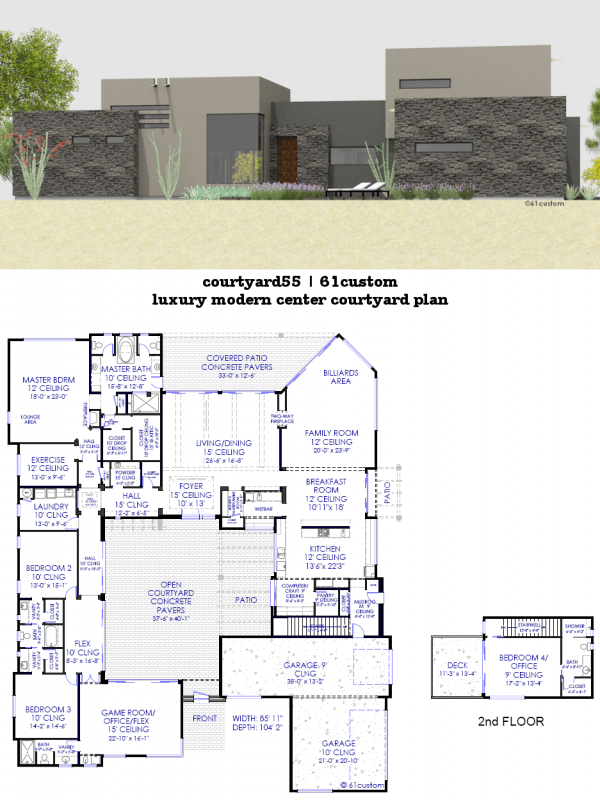 Luxury modern courtyard house plan 61custom for Custom modern home plans