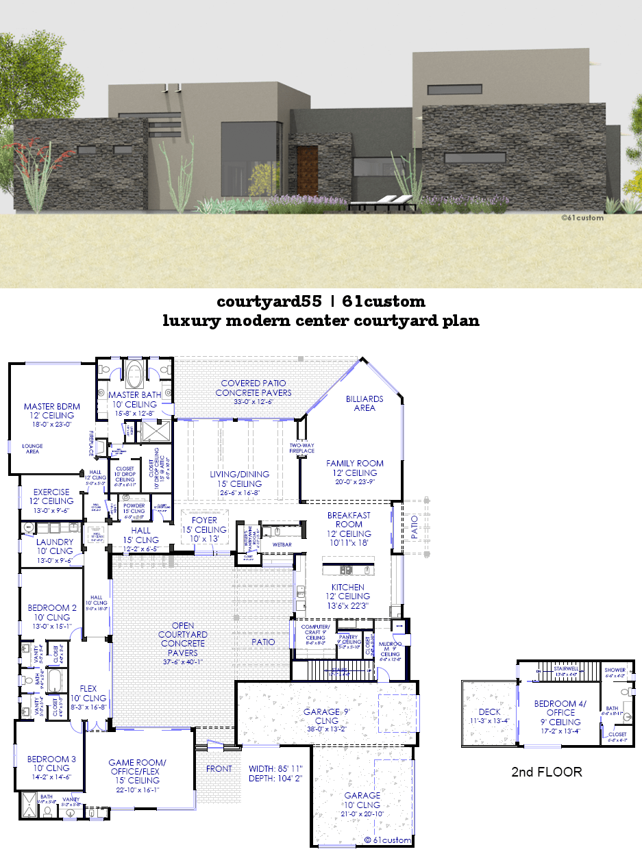 Courtyard house plans 61custom contemporary modern for Custom modern home plans
