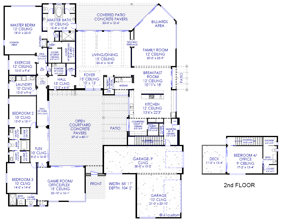 luxury modern courtyard floorplan luxury modern courtyard house plan - Modern Luxury Home Plans