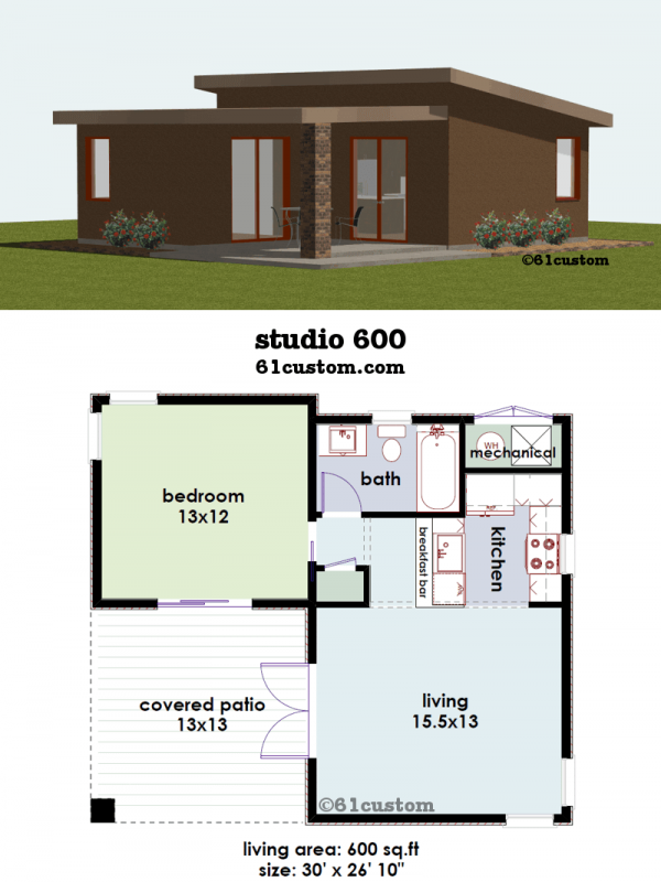 Studio600 small house plan 61custom contemporary for Modern one bedroom house plans