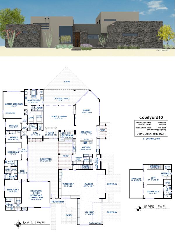 courtyard60: Luxury Modern Courtyard Houseplan | 61custom