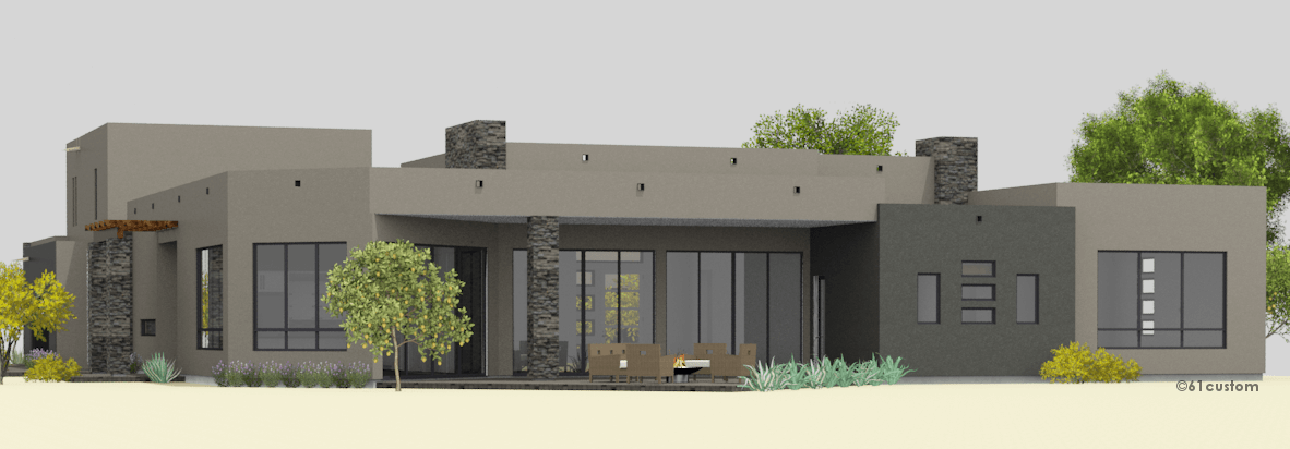 Courtyard60 luxury modern courtyard house plan New custom home plans