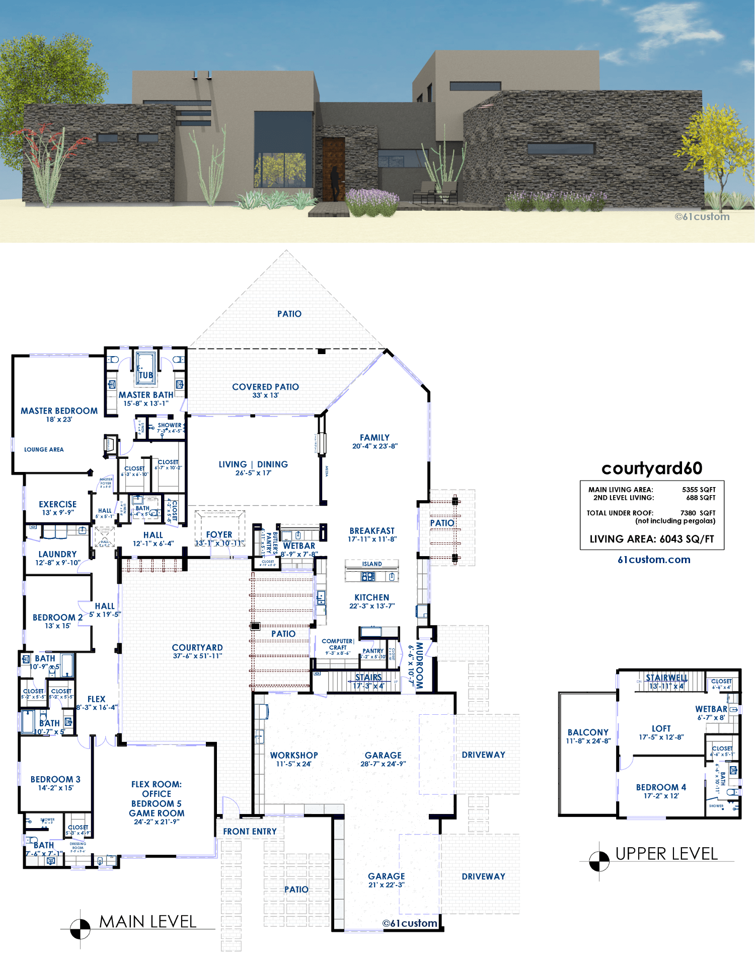 Courtyard60 luxury modern courtyard house plan for House plans with courtyard