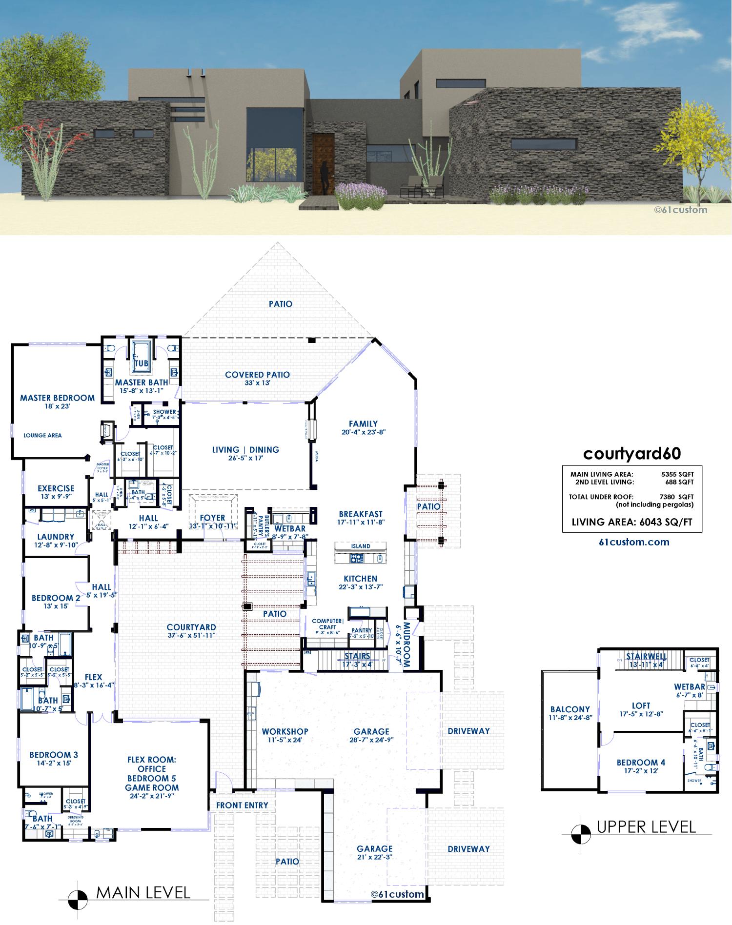 courtyard60 luxury modern house plan 61custom contemporary