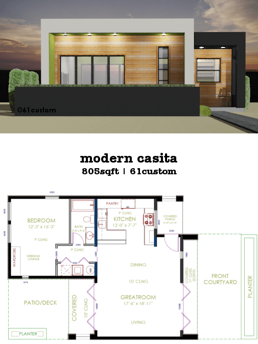 Casita plan small modern house plan 61custom for Custom home floor plans with cost to build