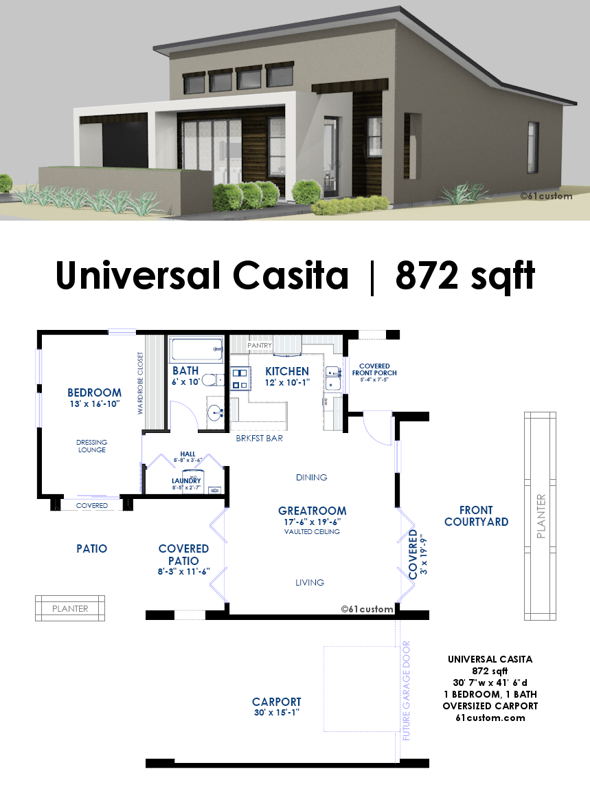 Universal casita house plan 61custom contemporary for Contemporary cottage plans