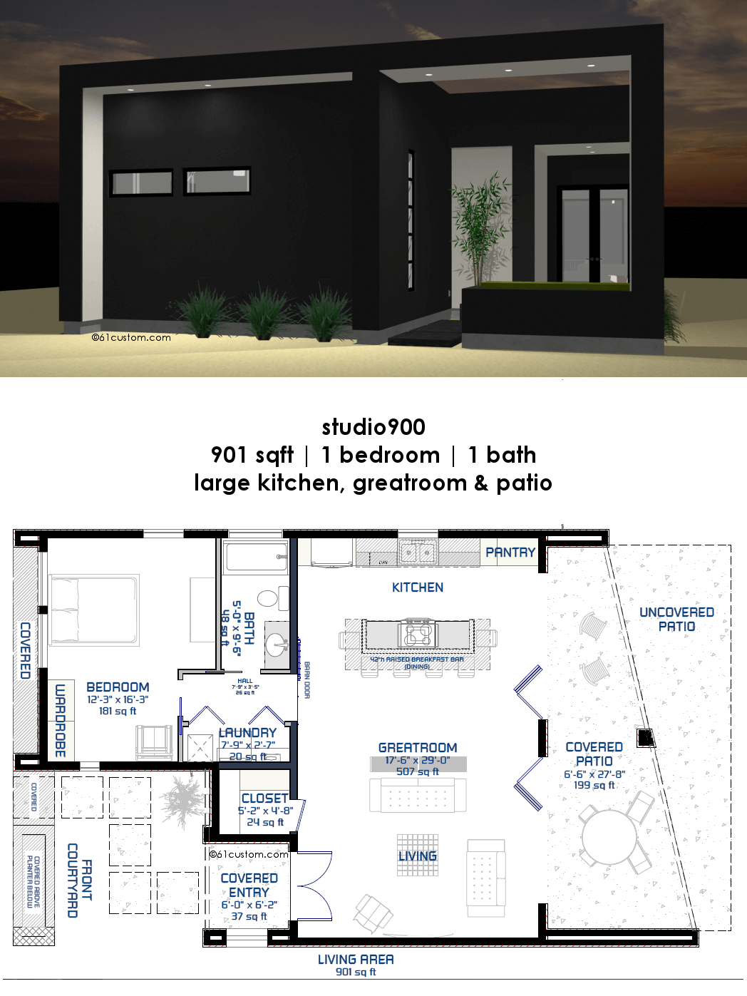 Studio900 small modern house plan with courtyard 61custom for Small modern house floor plans