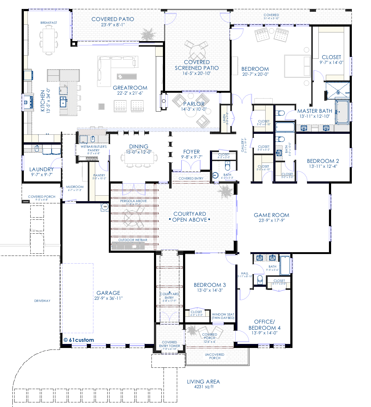 House plans and design contemporary house plans with for Custom house blueprints