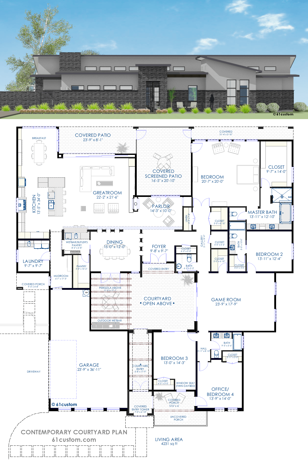 Contemporary courtyard house plan 61custom modern for House blueprints