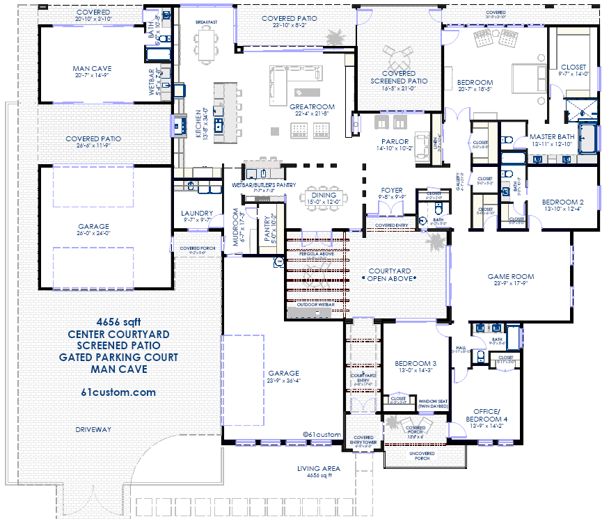 Courtyard floorplan with man cave