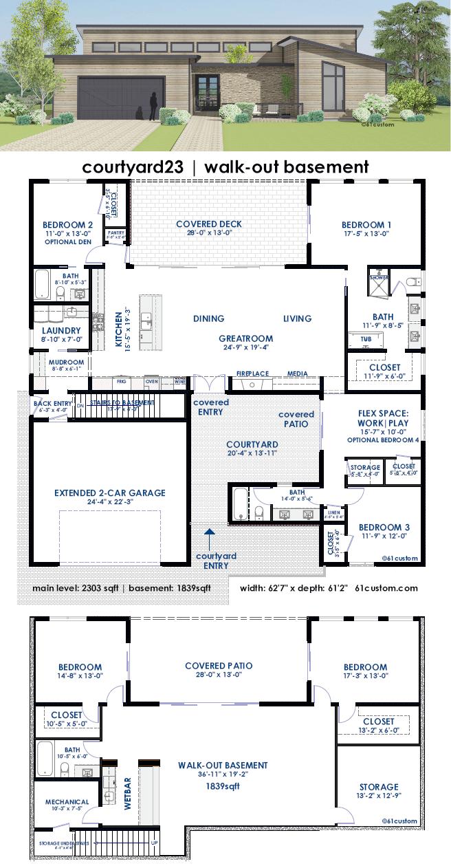 Courtyard23 semi custom home plan 61custom for Custom home design plans