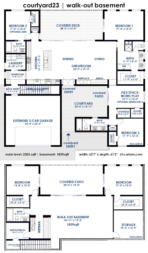 Courtyard23 semi custom home plan 61custom for Custom home floor plans with basement