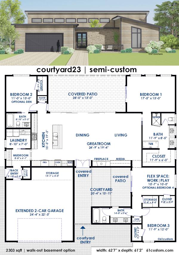 courtyard23 | contemporary houseplan