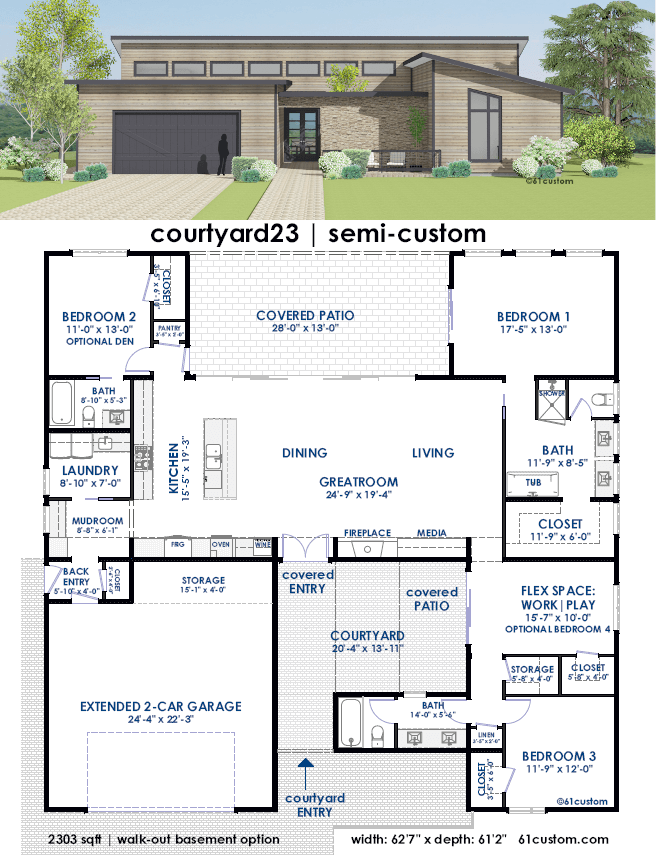 Courtyard house plans with garage for Courtyard house plans