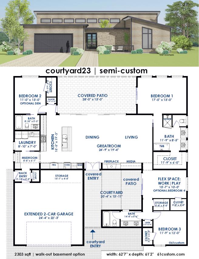 Courtyard23 semi custom home plan 61custom for Custom home building plans
