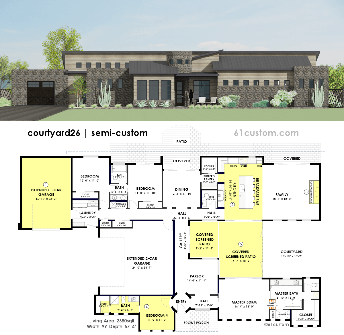 Modern Home Floor Plans: Contemporary Side Courtyard House Plan