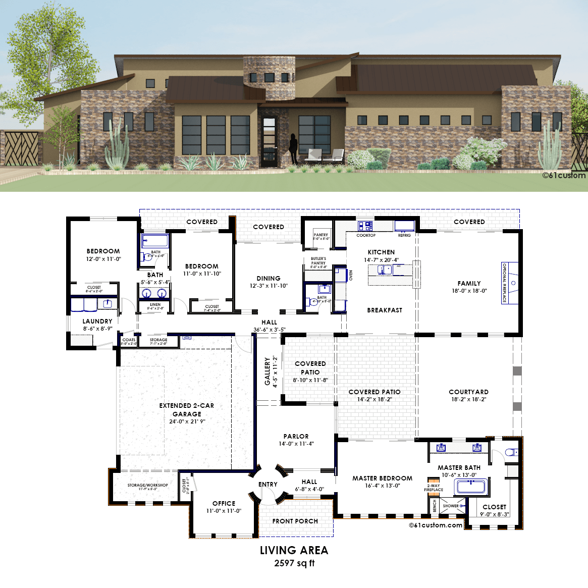 Contemporary side courtyard plan for New house floor plans