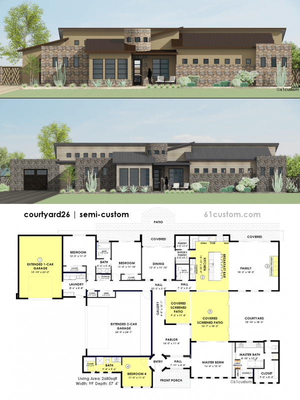 Contemporary side courtyard house plan 61custom for Small custom home plans