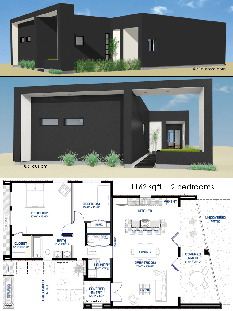 Small front courtyard house plan 61custom modern house for Small modern house floor plans
