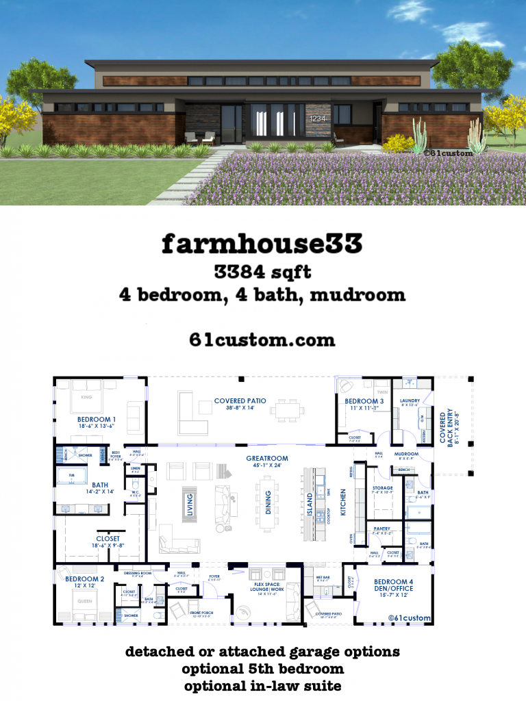 Farmhouse33 modern farmhouse plan 61custom for Modern open concept house plans