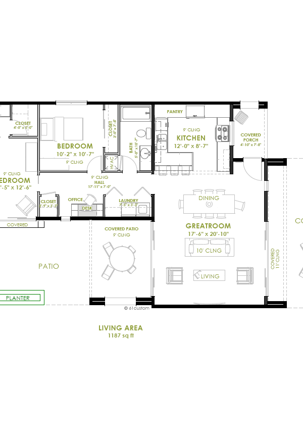 modern 2 bedroom floorplan
