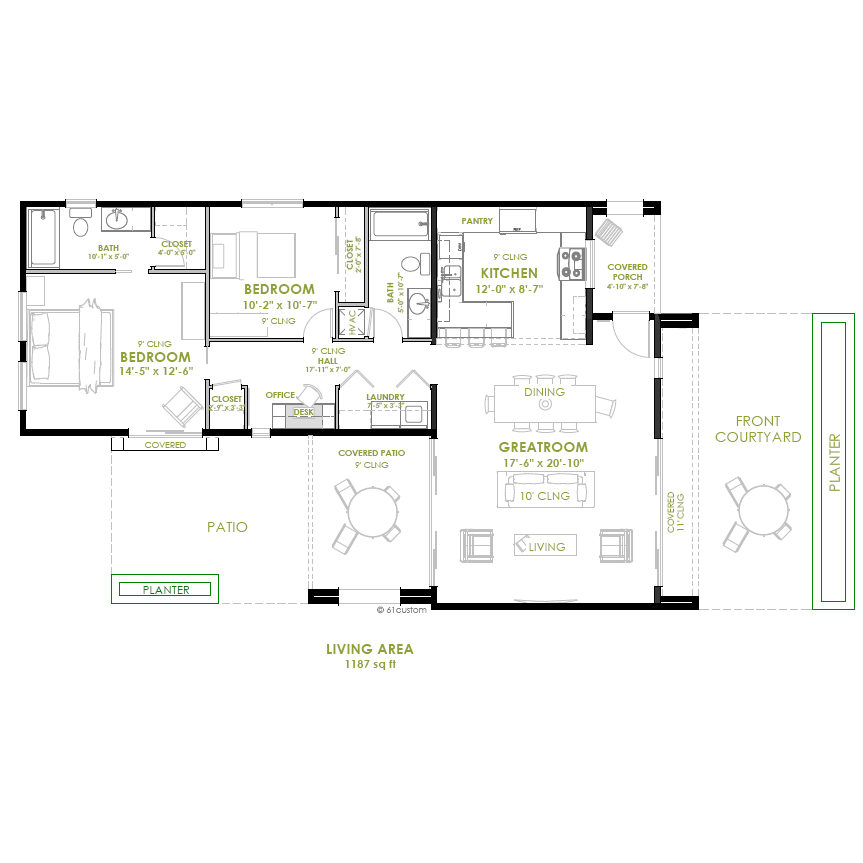 Modern 2 bedroom house plan 61custom contemporary for Two bedroom house plans