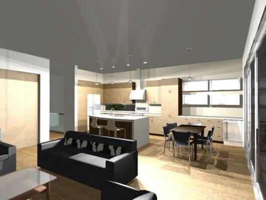 kitchen | modern live-work house plan | 61custom