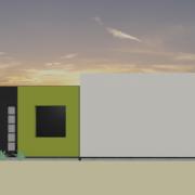 modern houseplan - backyard