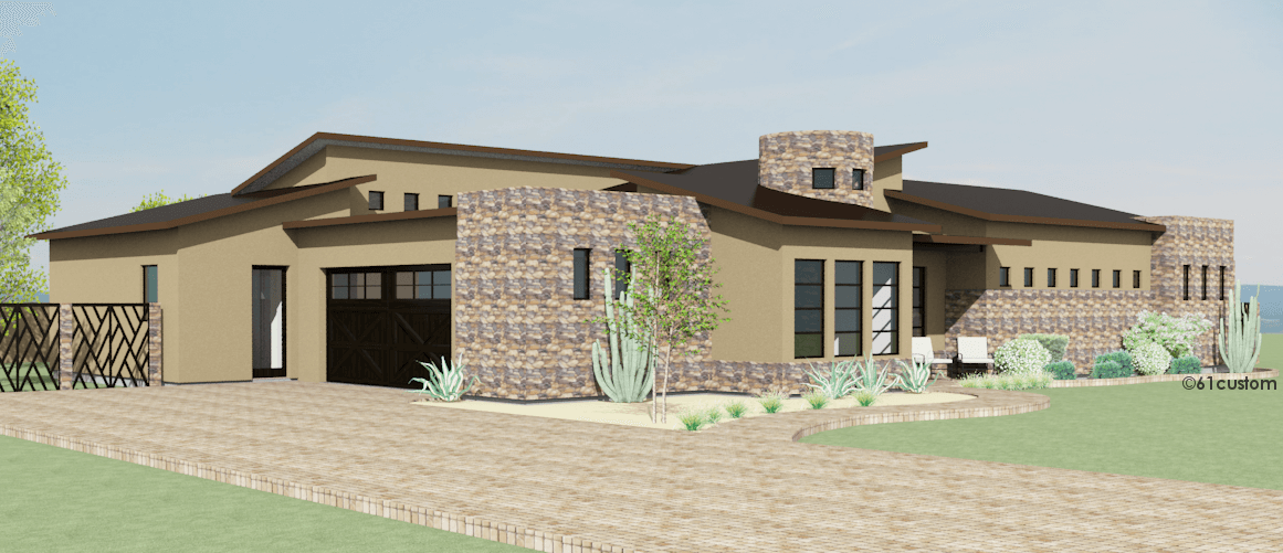 Contemporary Side Courtyard House Plan | 61custom | Contemporary ...