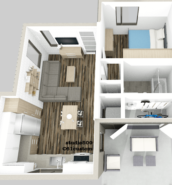 studio500: modern tiny house plan | 61custom