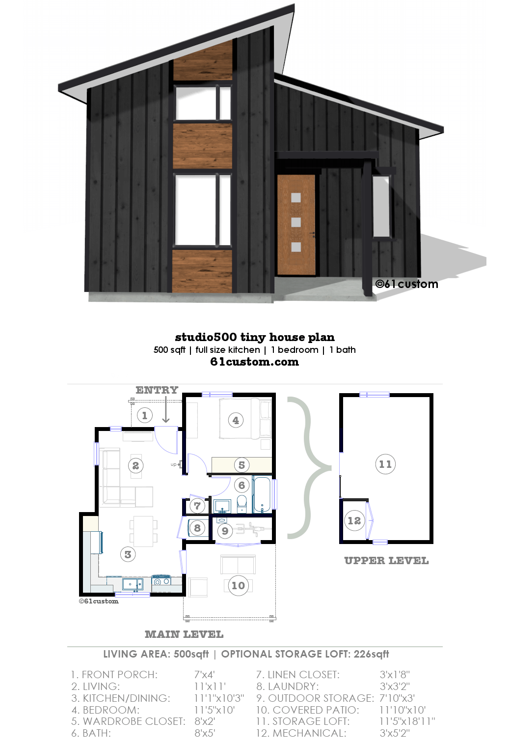 studio500 modern tiny house plan 61custom. Black Bedroom Furniture Sets. Home Design Ideas
