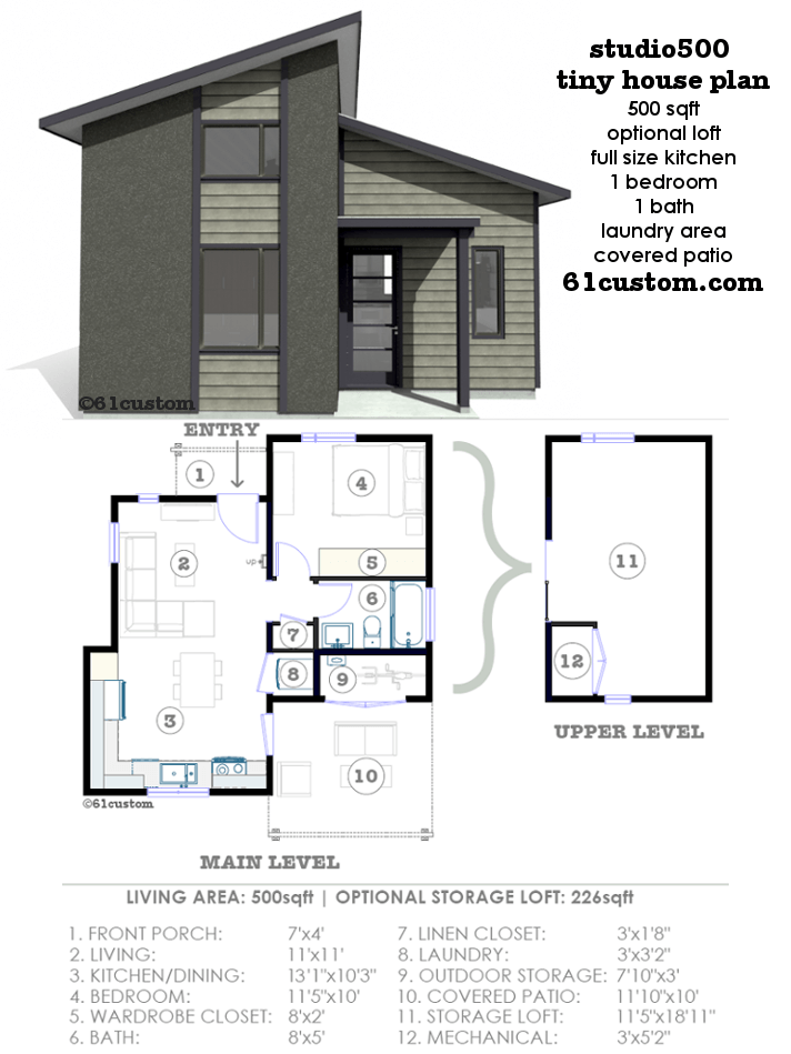 Studio500 modern tiny house plan 61custom for Small house floor plans with garage