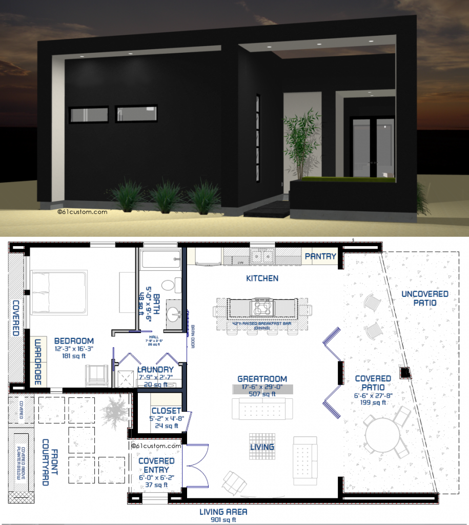 studio900 small modern houseplan